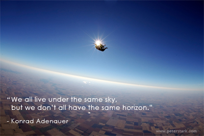 We all live under the same sky, but we don't all have the same horizon. – Konrad Adenauer | Peter Barron Stark Companies