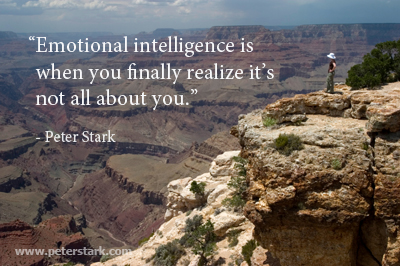 Emotional intelligence is when you finally realize it's not all about you - Peter Barron Stark